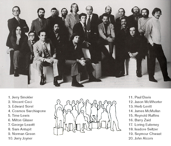 Push Pin Studios press photo, featuring current and former members, circa 1970.
